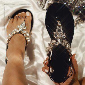 NEW Bling Jewel T-Strap Open Toe Jelly Flat Sandal